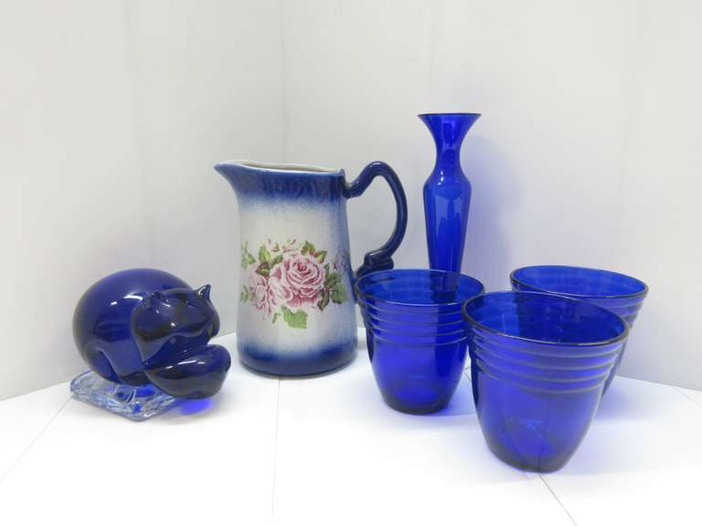Blue Ware Pitcher and (6) Pieces of Cobalt: Vase, Hippo, and 3- Glasses