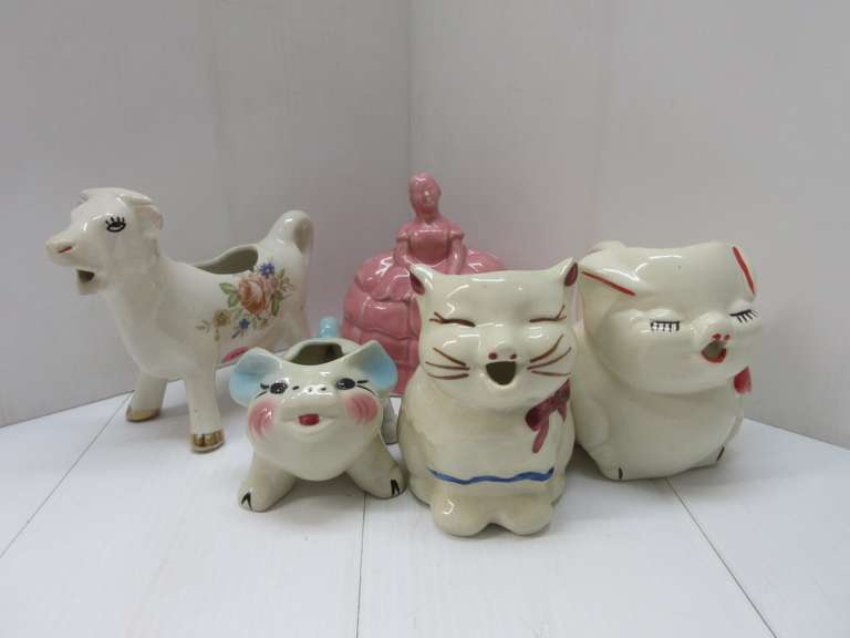 Rose Colored Southern Belle Planter; Small Piggy Planter, Nice Colors; (3) Creamer Pitchers: 1- Cow, 1- Pig, and 1- Cat