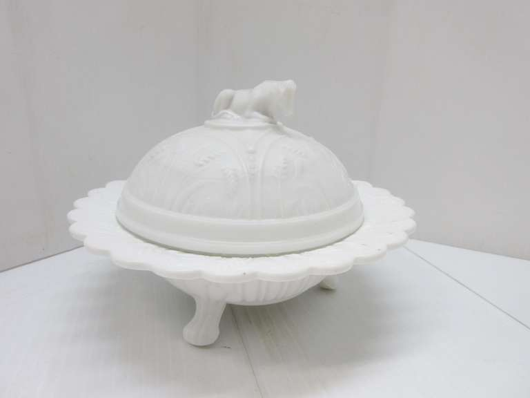 Antique White Milk Glass Serving Dish with Lid, Handle on Lid is a Cow