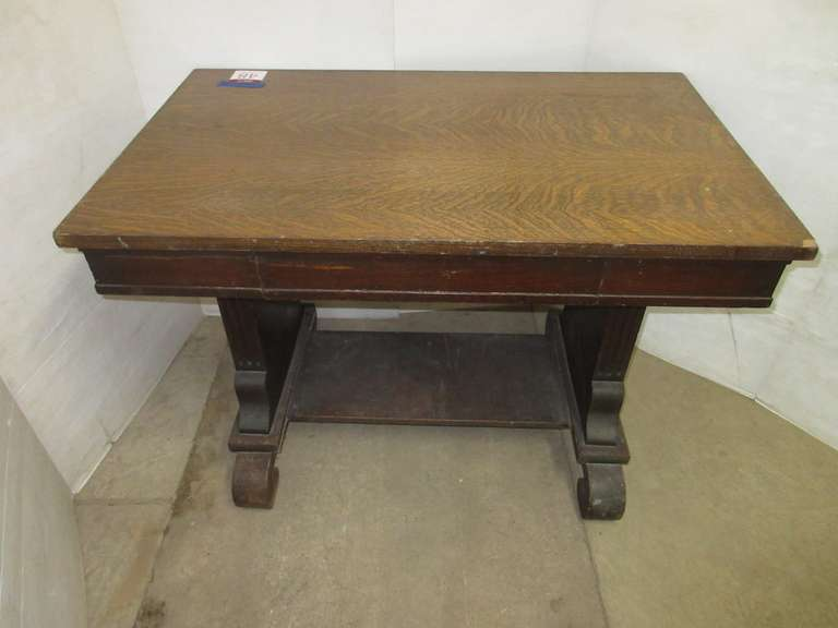 Antique Oak Library Table with Quartersawn Top and Drawer