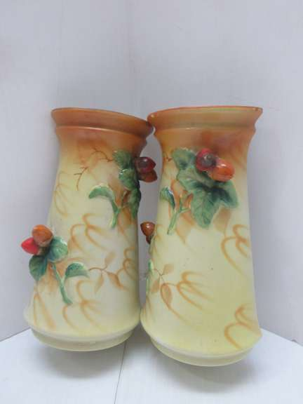 Pair of Hanging Vases, Hand Painted, Ceramic, Made in Japan