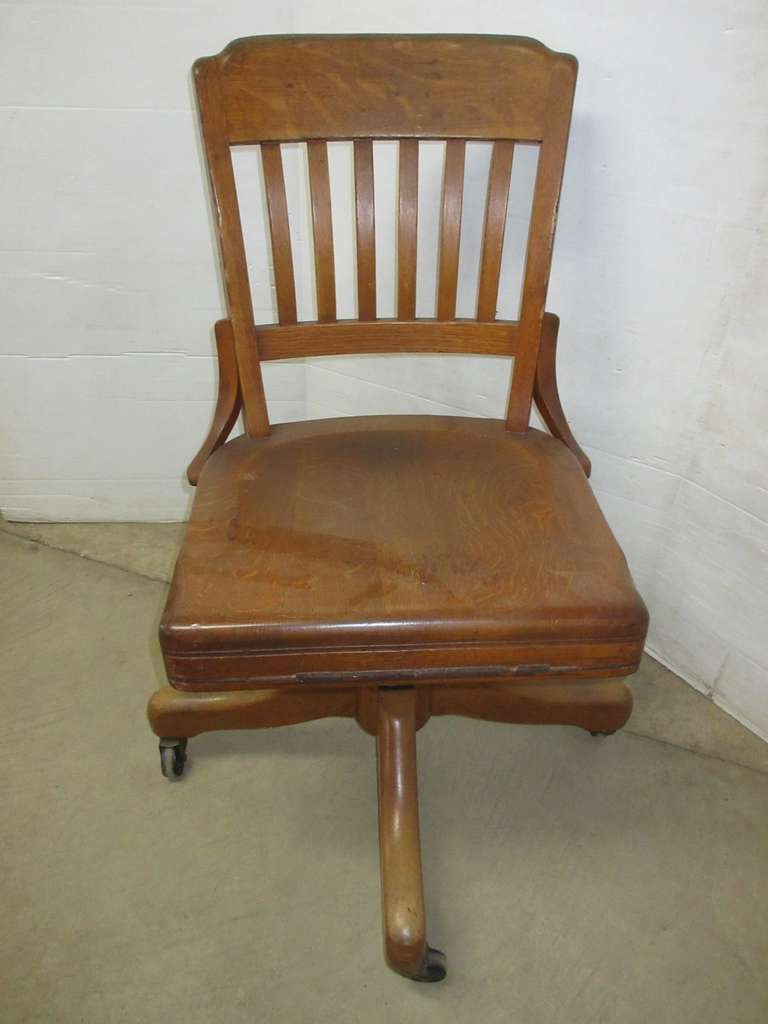 Gregory Mayer & Thom Co. Rolling Oak Desk Chair, Made in Detroit