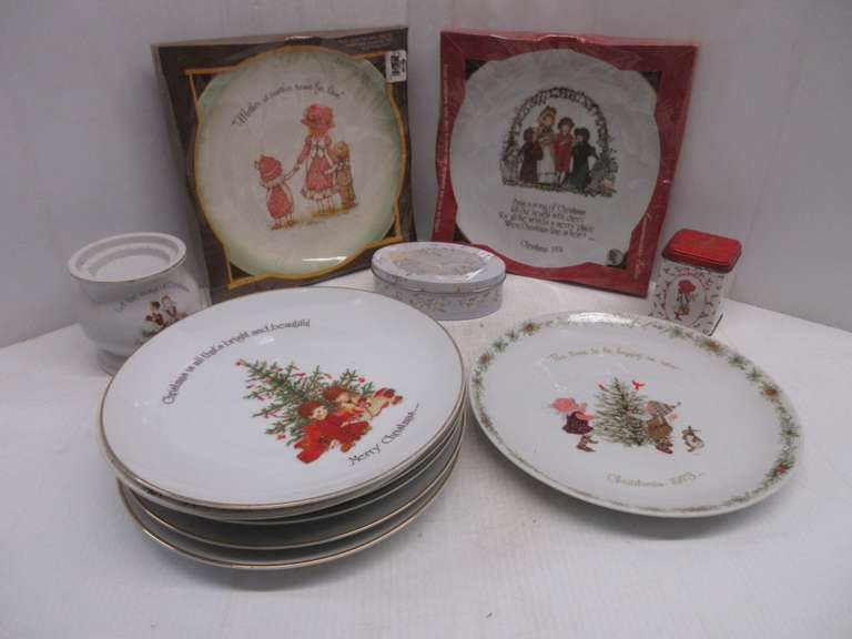 "Holly Hobbie Items, Include: (5) Mother's Day Plates, 12""Dia; (3) Christmas Plates, 12""Dia; (2) Tins; Candle Holder"