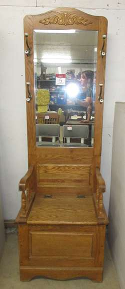 Hall Tree with Seat and Mirror, Solid Oak