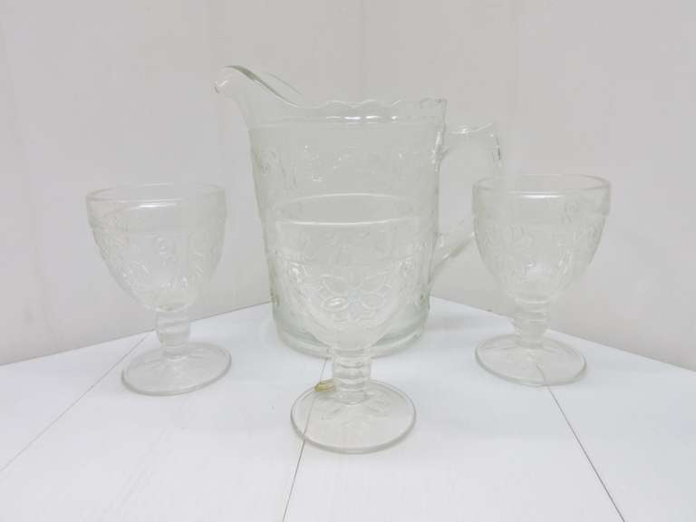 Sandwich Glass Pitcher and (3) Glasses