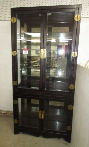 Curio Cabinet with Two-Tiered Upper and Lower Lighted Mirrored Back