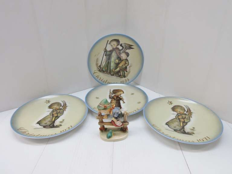 "(4) Hummel Plates: Two- 1971, 1972, and 1974; Hummel Figure, ""Retreat to Safety"""