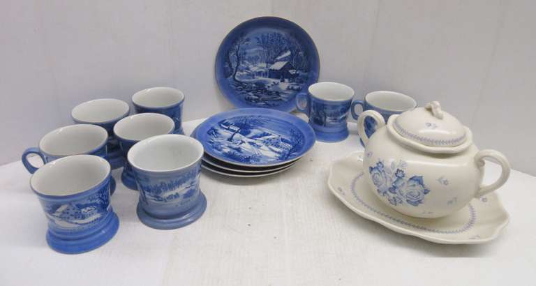 (4) Currier & Ives Plates and (8) Cups, Good; Blue and White Flowered Bean Pot with Tray, No Chips