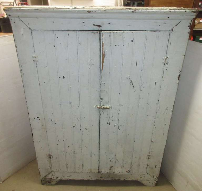 Old Wooden Cabinet with Two Doors and Shelves