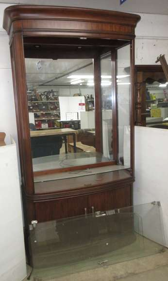 Curio Cabinet with Glass Doors and Shelves, Inside has Light
