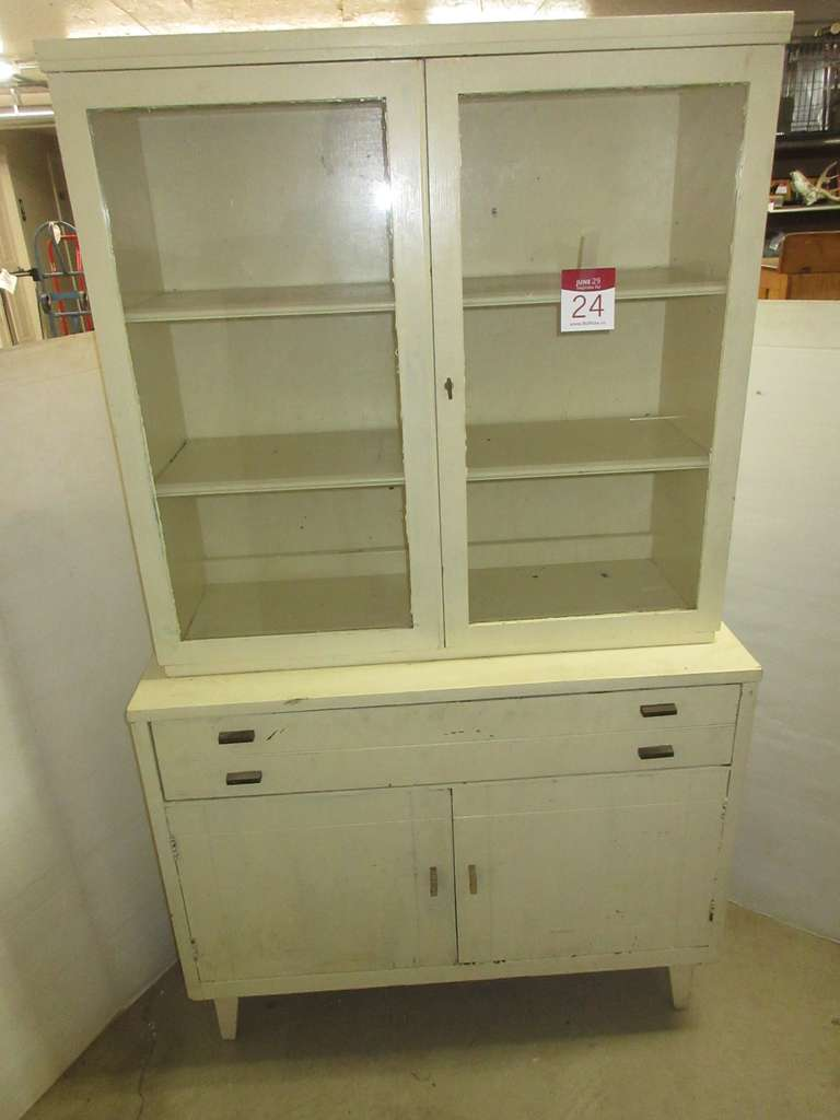Cream Hutch with Glass Doors