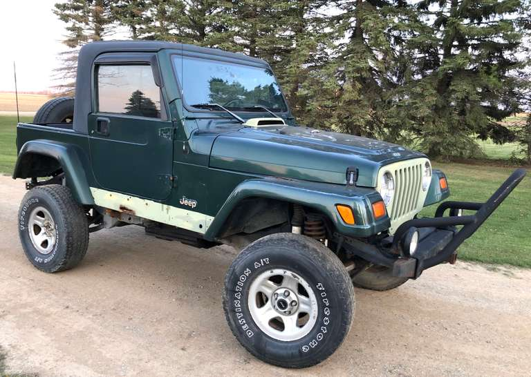 "1999 Jeep Wrangler Sahara, (192,210 Miles), 4"" Suspension Lift, 2"" Body Lift, Half Cab Conversion, Runs, Drives, Stops Well, Some Rust on Front Fenders and Bottom of Tub, Clean and Clear Title"