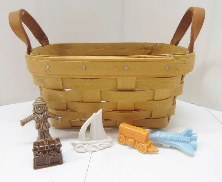 Small Longaberger Basket with Wade Figurines
