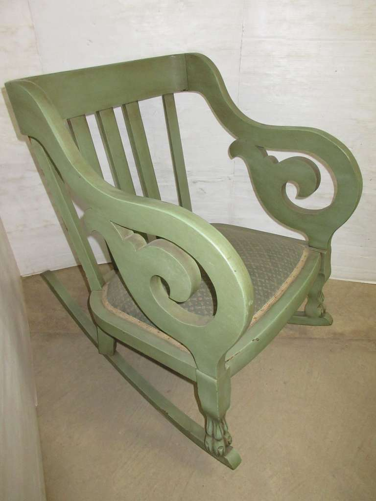 Older Rocking Chair, Antique Green in Color