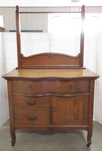 Antique Solid Oak Wash Stand with Towel Rack, Serpentine Front, Original Hardware, Wood Wheels