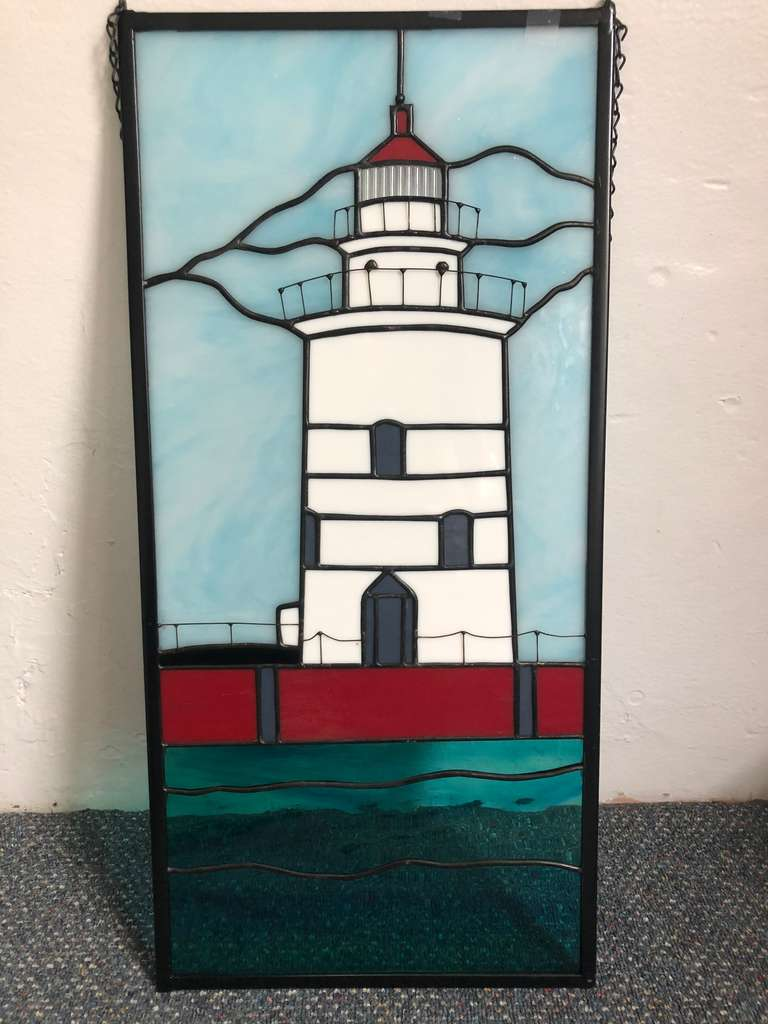 Harbor Beach Lighthouse Stained Glass Wall Hanging