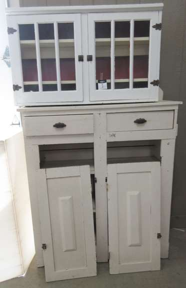 Rustic Primitive Cabinet with Two Doors, Possibly Homespun Barn Wood, Has Removable Top That is Painted a Different Color