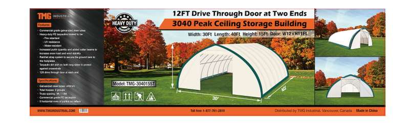 30' x 40' x 15' Peak Ceiling Double Door Storage Building, Comes with: Commercial Fabric, Waterproof, UV, and Fire Resistant, 12' x 12' Drive-Through Doors at Two Ends