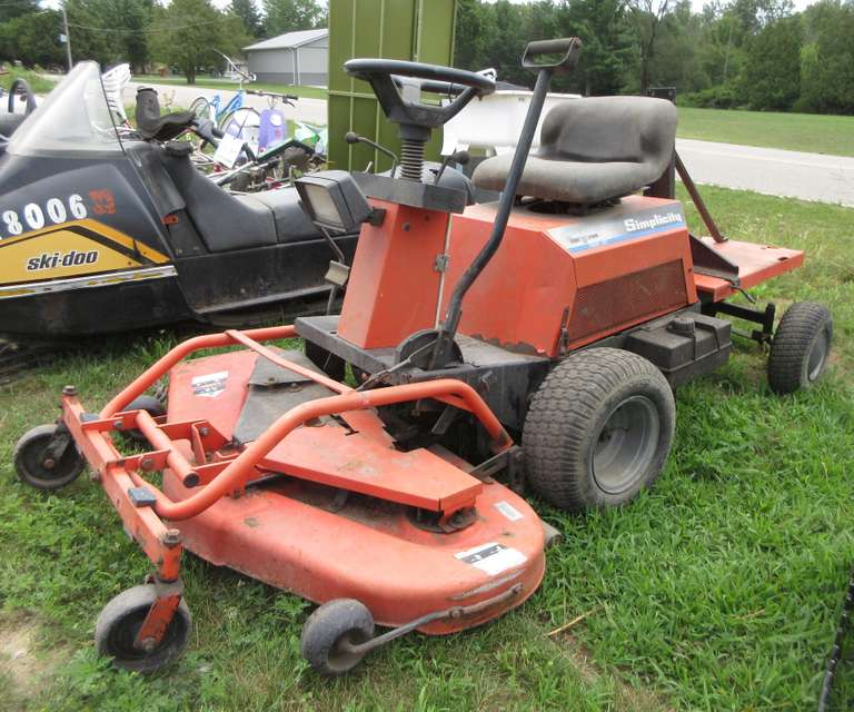 "Simplicity 42"" Front Cut Mower, 16 HP V-Twin Motor, Key on Tool Bench"