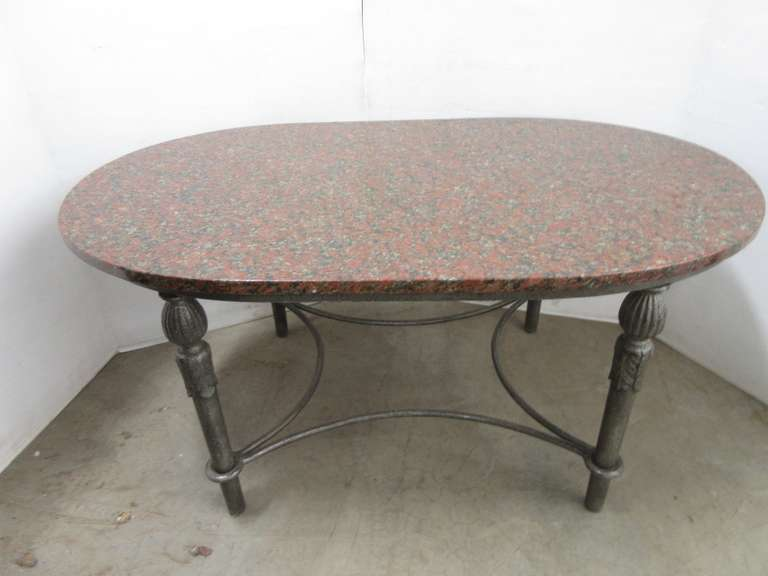 Granite Coffee Table with Wrought Iron Base, Removable Top, Base is Heavy Duty