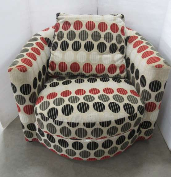 Round Circular/Polka Dotted Designed Spinning Sitting Accent Chair with Matching Pillow