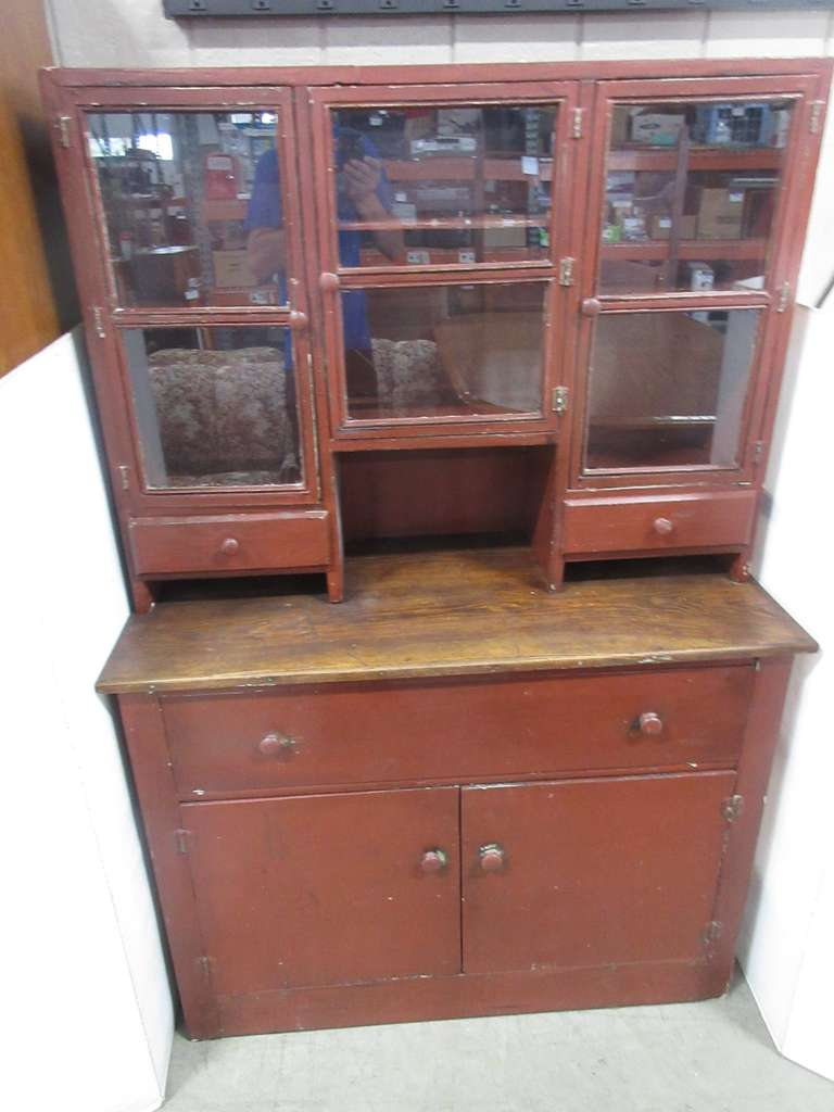 Primitive Two-Piece Hutch, Original Glass Front, Circa 1900s