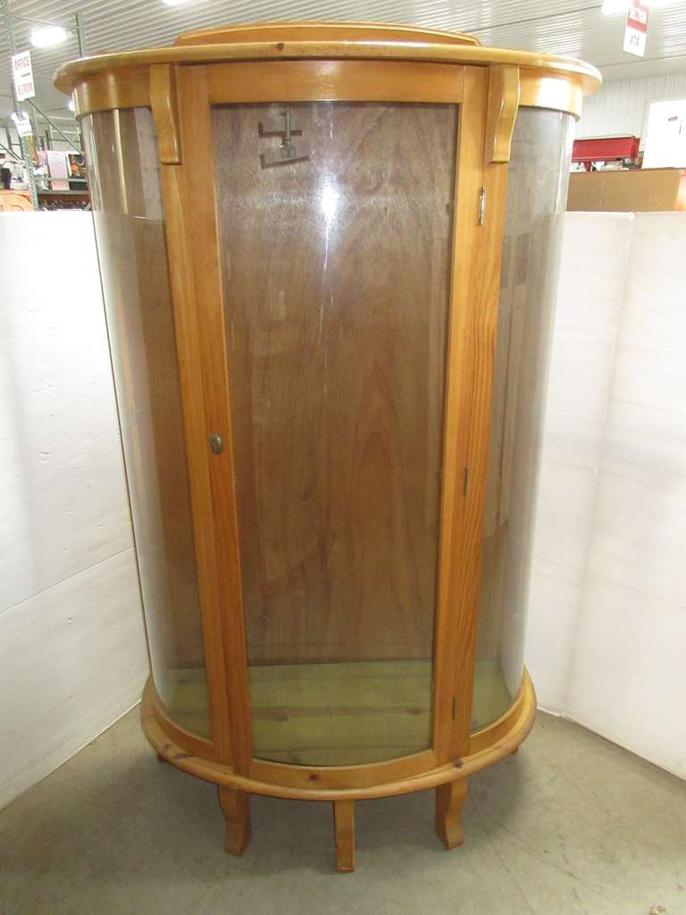 Wooden Curio Cabinet with Three Glass Shelves, Curved Glass Front and Side Panels, and Five Legs for Better Stability