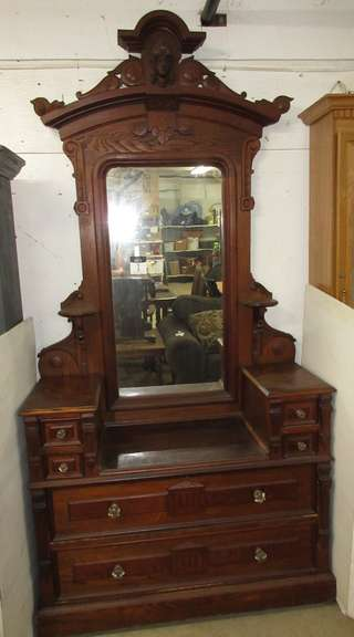 Antique Solid Wood Six-Drawer Vanity Dresser with Mirror