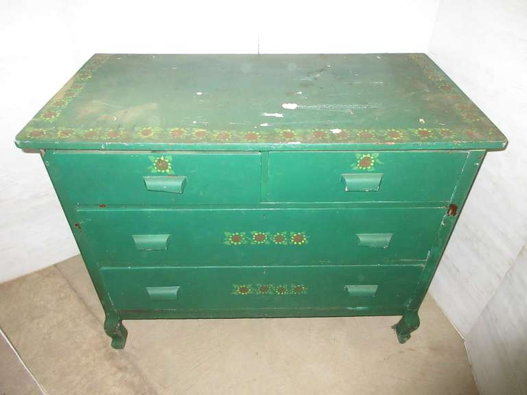 Four-Drawer Green Painted Dresser with Sunflowers, Primitive, Solid Wood