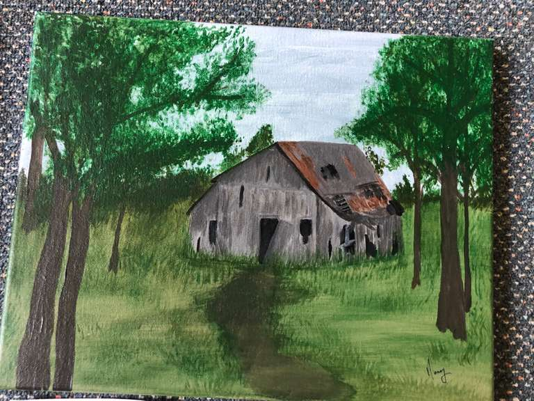 Handpainted Barn Scene