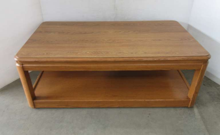 Oak Living Room Coffee Table on Wheels