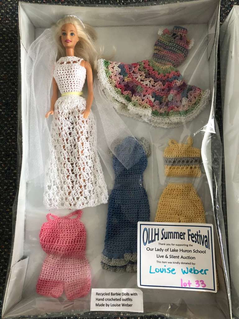 Barbie Set with Doll and Hand Crocheted Clothing Collection