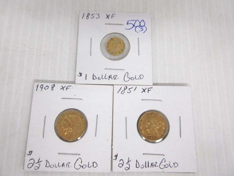 (3) Gold Coins: 1853 $1 Gold Coin, 1908 $2.50 Gold Coin, and 1851 $2.50 Gold Coin