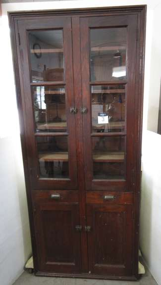 Antique Wood Cabinet with Original Hardware