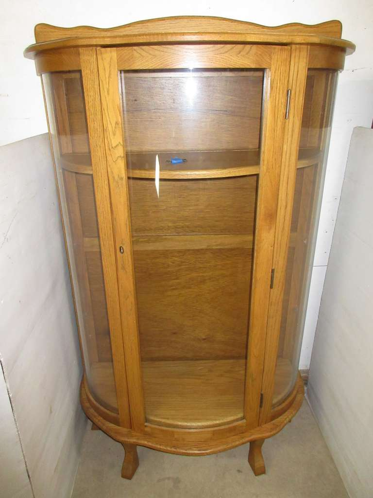Four-Shelf Half Round Curio Cabinet
