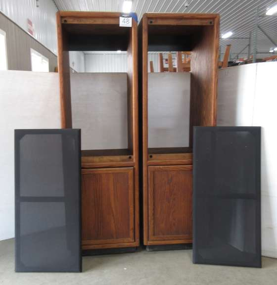 (2) Oak Cabinets for Speakers with Removable Cloth Fronts