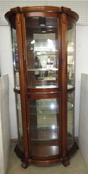 Five-Shelf Half Round Curio Cabinet