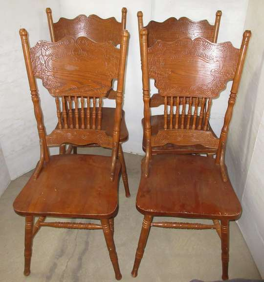 (4) Wooden Dining Chairs