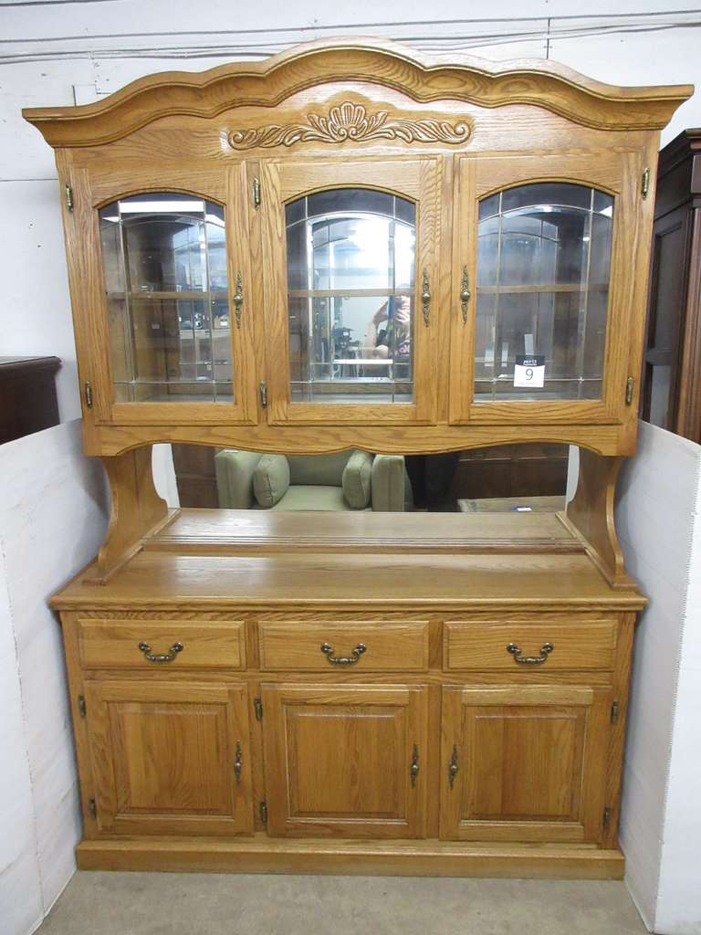 Two-Piece Lighted Oak China Cabinet with Mirror and Glass Top Doors