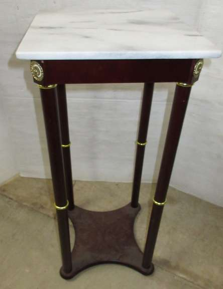 White Marble Top Plant Stand with Black Wooden Legs, Brass Decoration