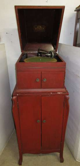 Victor Victrola IX and Record Cabinet, Machine has been Painted Red, Cabinet is Full of Records