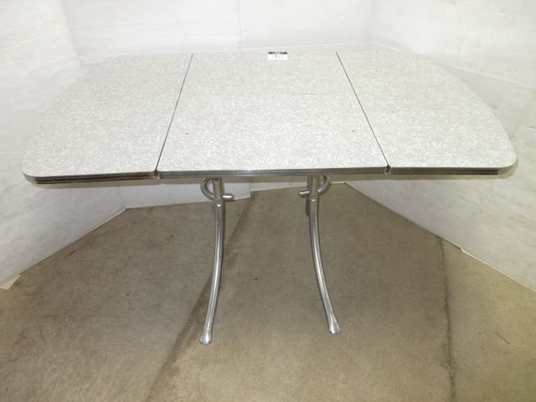 Formica Kitchen Table with Chrome Legs, Circa 1950s