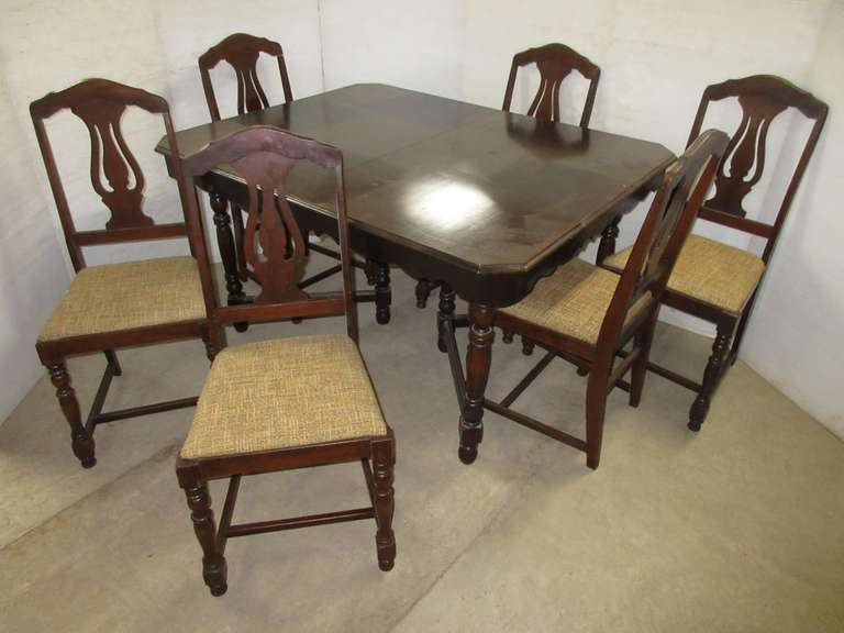 Antique Empire Dining Room Table with (6) Chairs, Has Hobnail Detail on Trim, Matches Lot No. 11