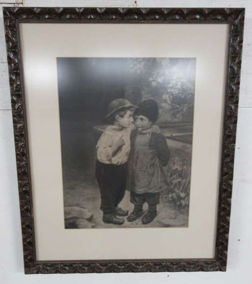 Antique Picture of Boy Whispering to Girl in Wood Carved Frame