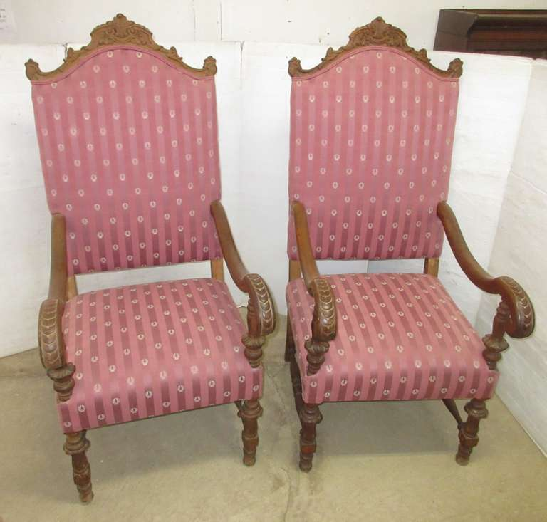 (2) Antique Armchairs, Hand Carved