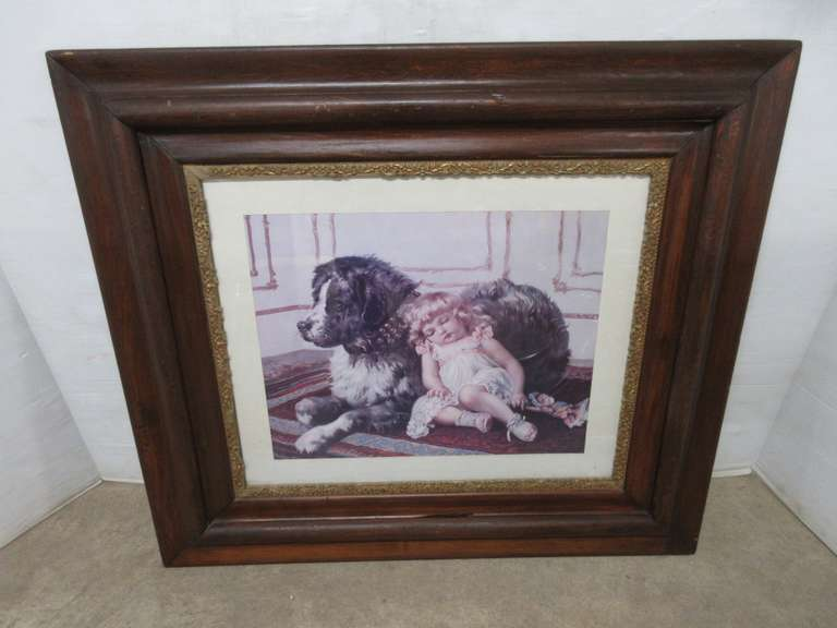 Antique Frame and Picture, Dark Wood, Well Constructed Frame with White Wood Matte and Glass, Picture of a Small Girl Resting Against a Large Dog