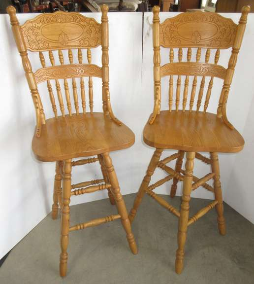 (2) Bar Height Swivel Stools, Pressed Back Oak with Turned Legs