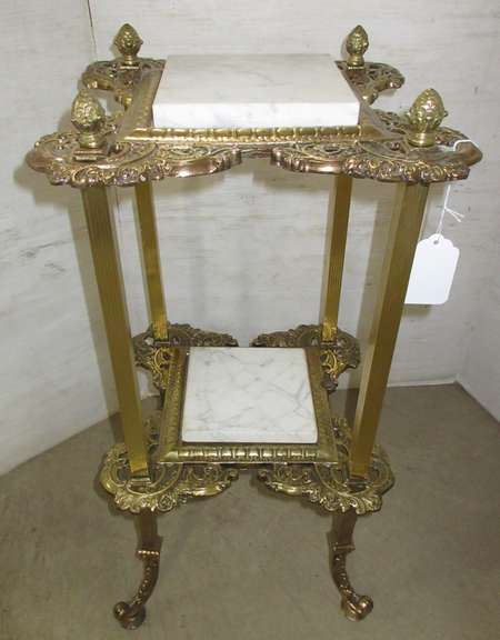 Antique Brass Stand with Marble Inserts, Matches Lot No. 19