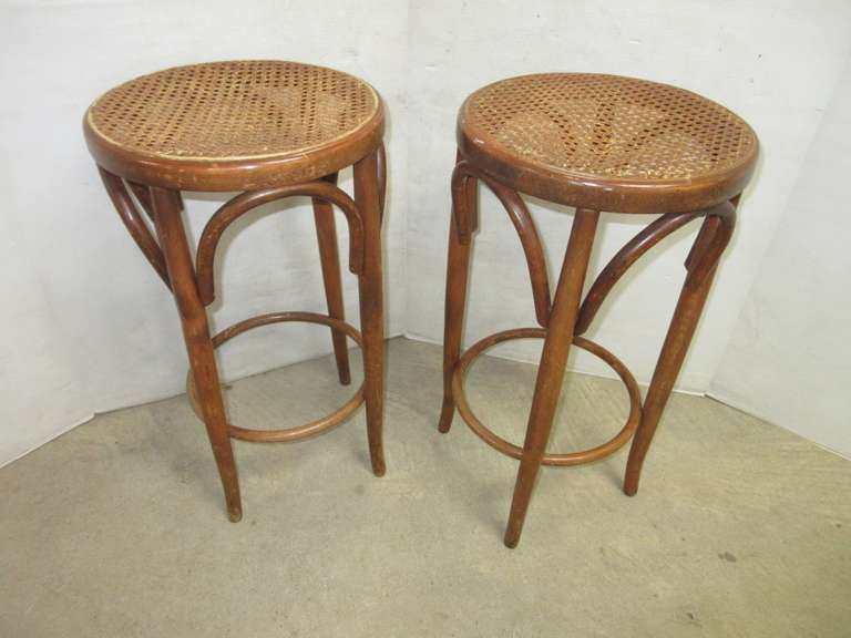 (2) Bamboo Stools, Wicker Top
