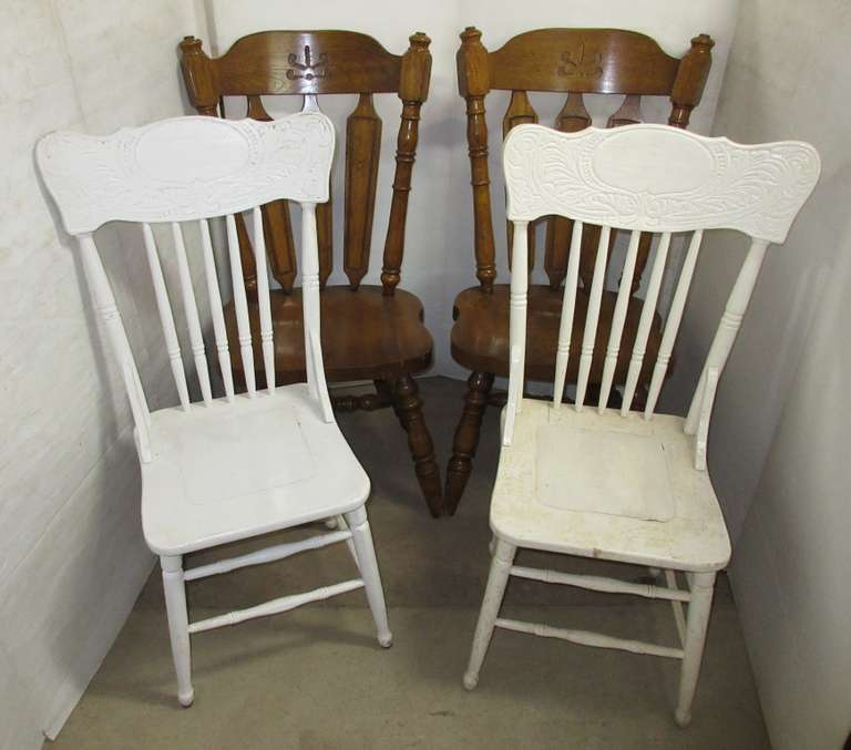 Pair of Heavy Dining Chairs and (2) Older Painted Oak Chairs